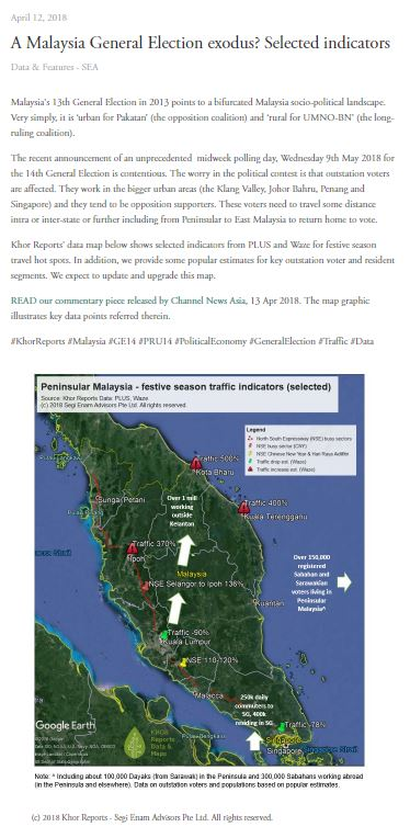 - CLICK HERE to view our map infographic on Peninsular Malaysia with data on road traffic surges from PLUS and Waze that point to key outstation voter (affected by the mid-week day polling) segments.
