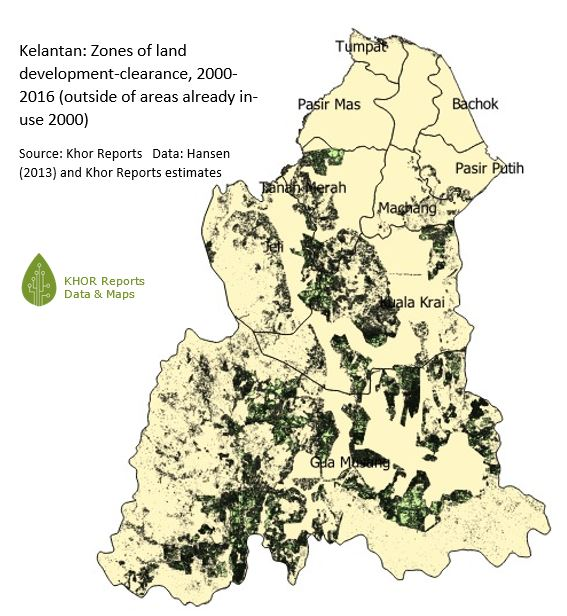 Figure 3: Map, Kelantan - zones of land clearance