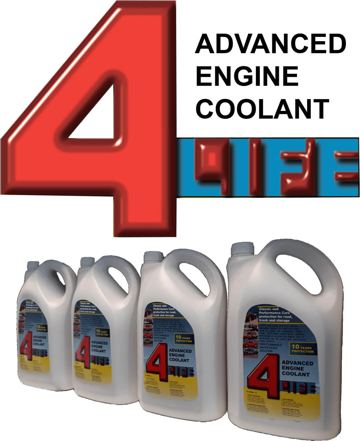 4Life logo and bottles of Forlife coolant