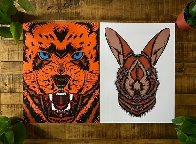 *GIVE AWAY TIME* FOLLOW @theanimalseries  TAG THREE FRIENDS  in the comments. Winner chooses one of these two artists test prints. 1/1 and one of a kind. 12x16 inch prints. Thank you guys. Last weeks contest got an awesome response. Let's get this week started right 🙌🙌🙌