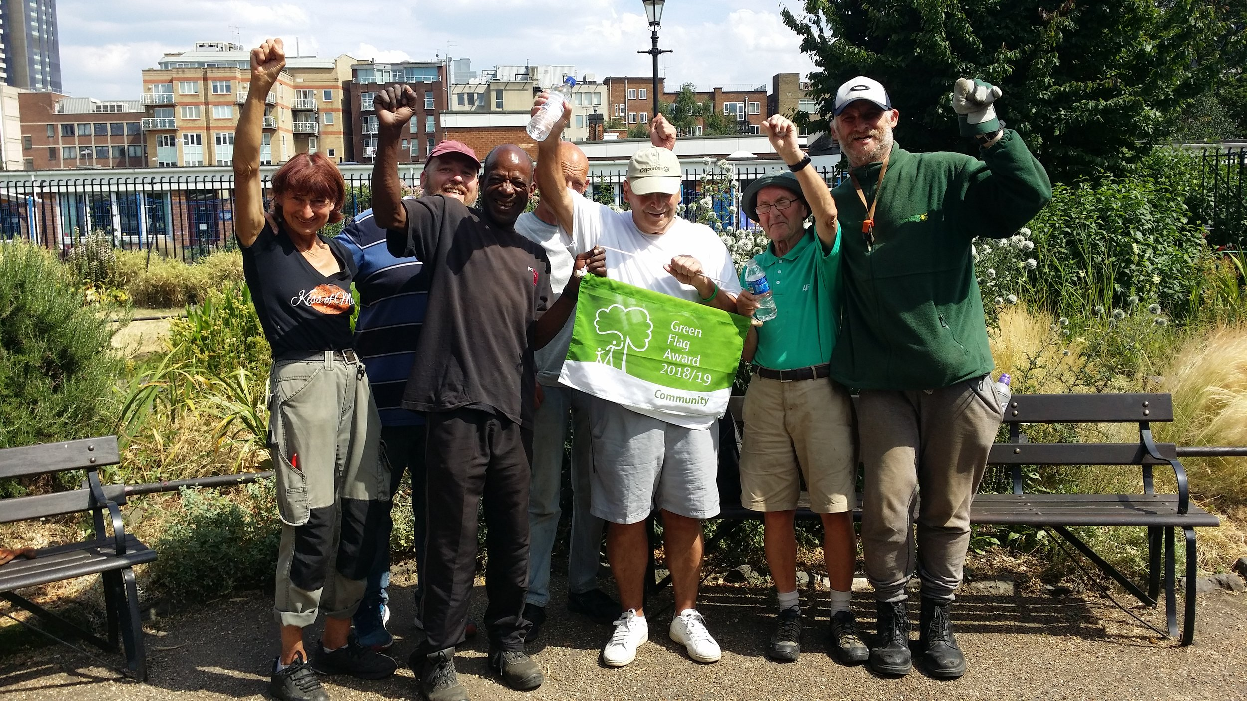 Our volunteers celebrate Red Cross Garden's Green Flag Award.