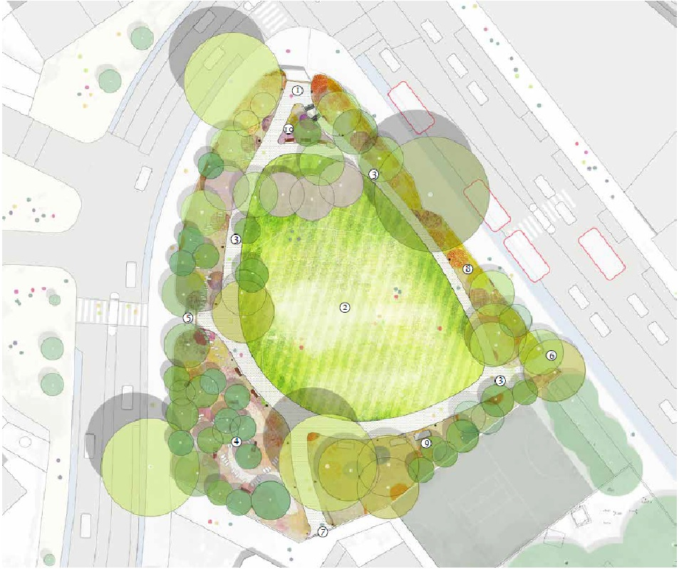 This map shows an illustration of what we hope Waterloo Green will look like, further information on each specific area is below.