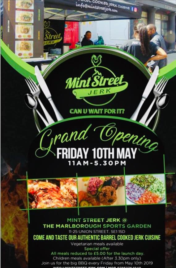 Mint Street Jerk - Locals Dave and Susan started by providing healthy after school food for families in Mint Street Park. Building up a strong following Mint St Jerk was born. With a focus on Jamaican Jerk and charcoal based cooking, plus Susan's Latin American influences they offer a tasty and healthy treat. We are delighted to be able to support them.Fridays 11am -5pm, from Friday 10 MayFind out more here