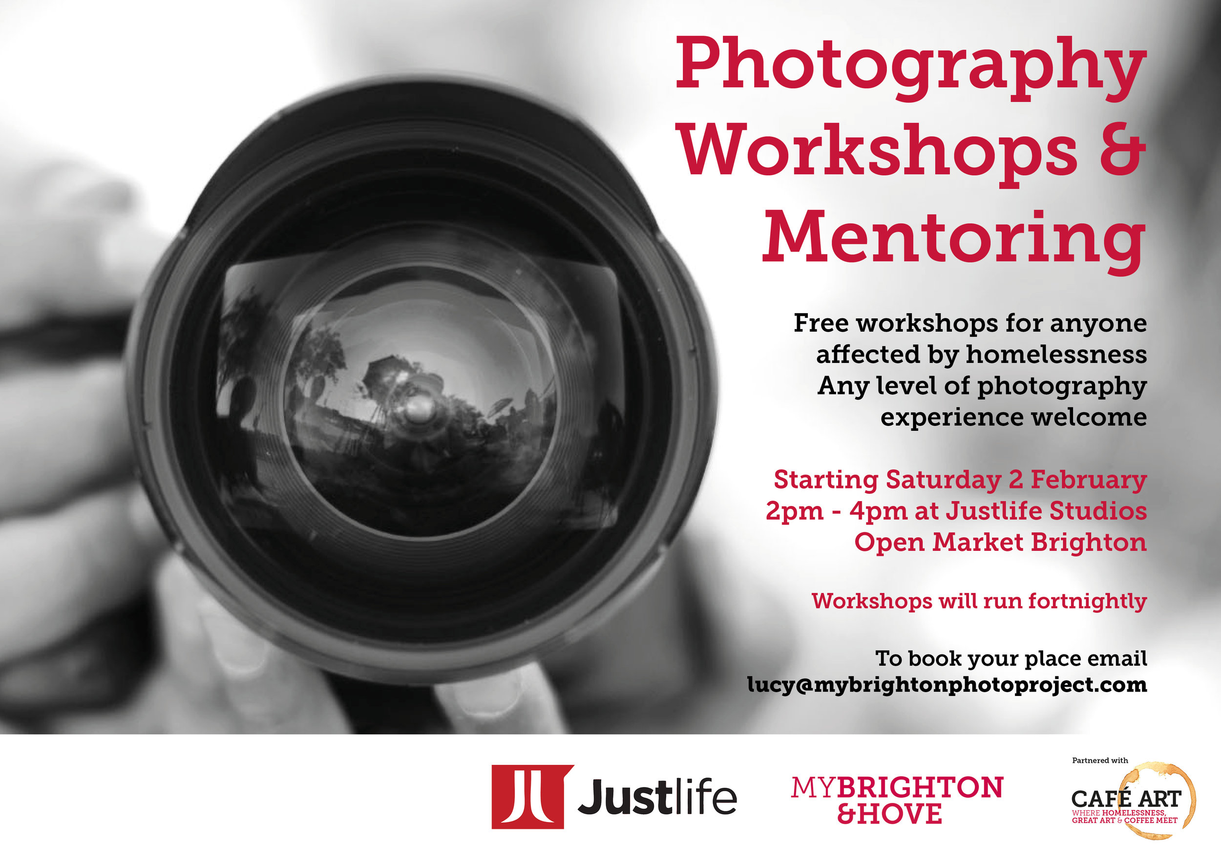 We are about to begin Photography Mentoring and Workshops open to anyone who has been affected by homelessness.  First session is  2-4pm Saturday Feb 2 at Justlife Studios , Open Market. We have a group of professional photographers volunteering their time to run workshops and support participants, so its a fantastic opportunity for some creative advice and direction.  Every level is welcome, from beginner to experienced photographer.  Initially we are working towards showing work as part of Brighton Fringe in May at One Church Brighton. The sessions are being held at Justlife Creative Studios and are supported by Justlife. Do  get in touch  if you are interested in coming along.