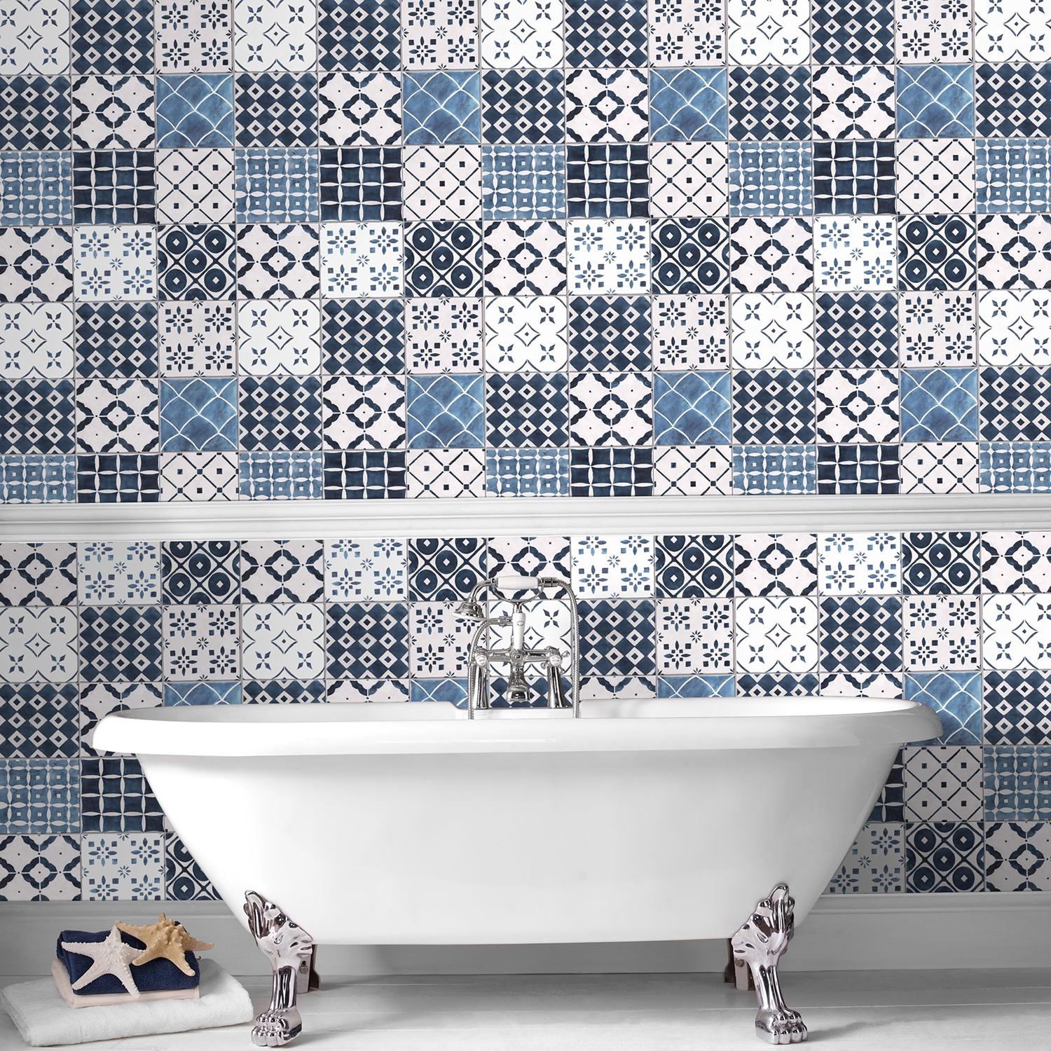 Patterned Wallpaper and Roll Top Bath
