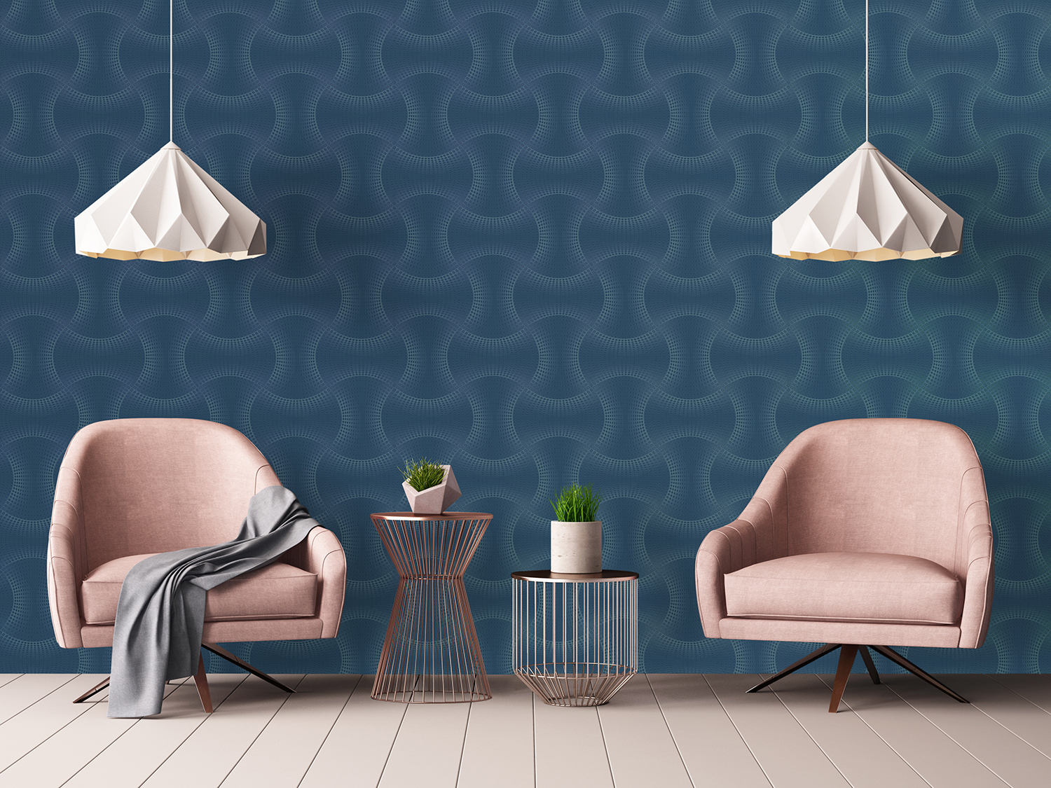 Calipso Blue Wallpaper from Graham and Brown