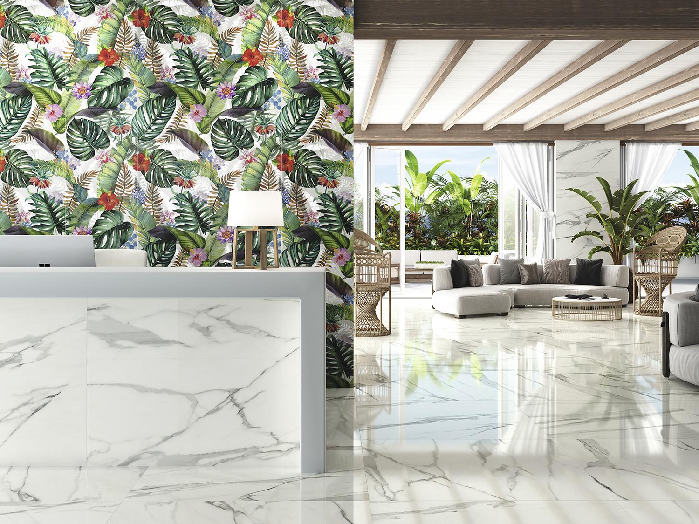 White Marble Effect Porcelain Tiles