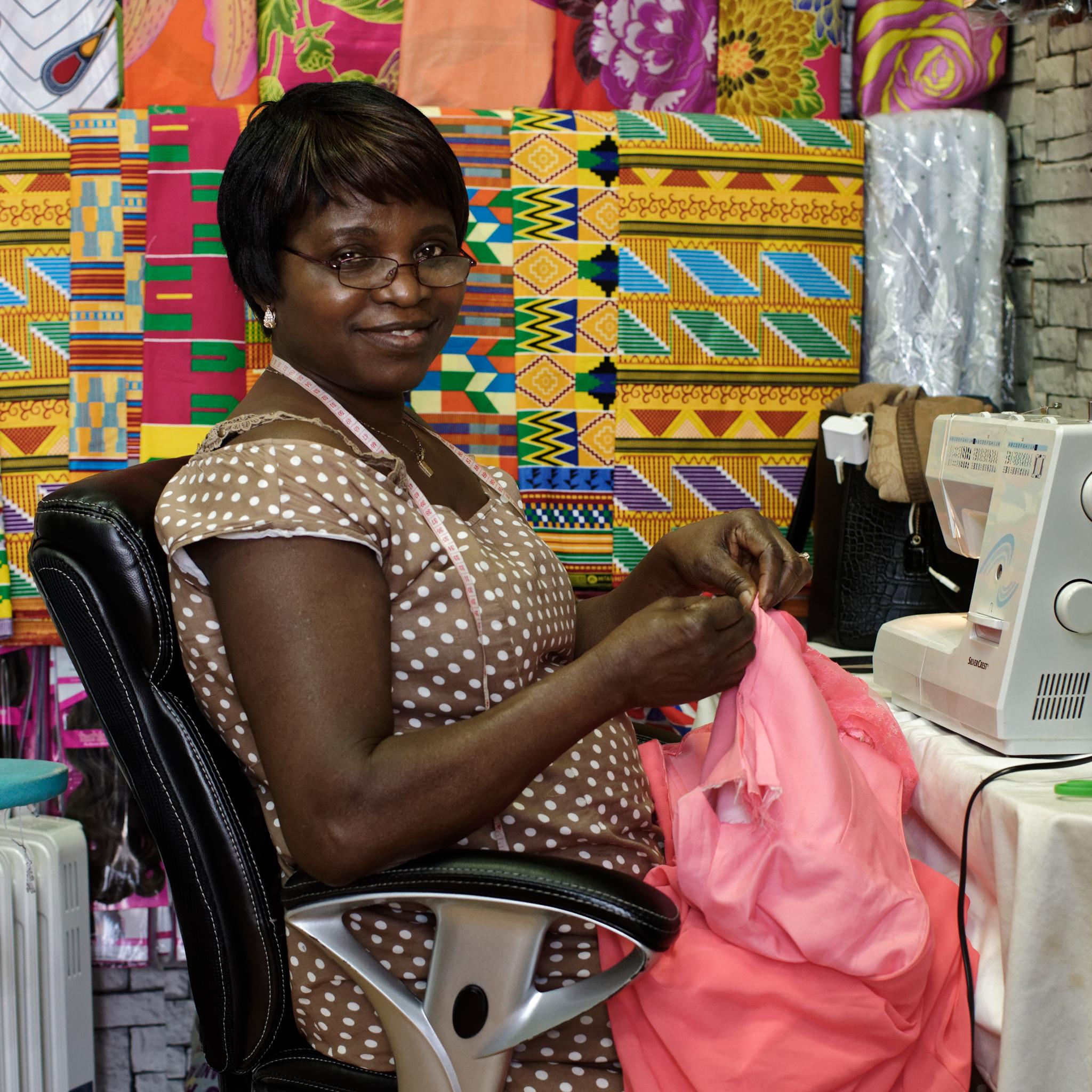 Sophia, African cloth artisan