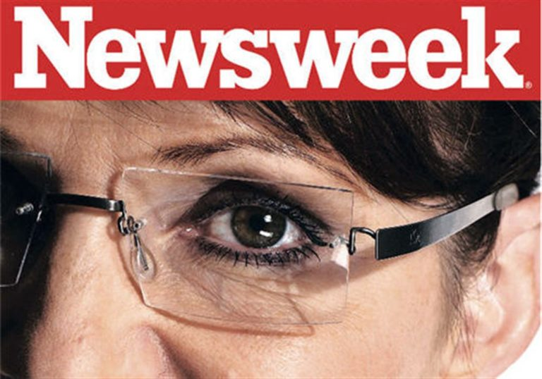 Nigel Parry; Cropped by Newsweek image from his portrait of the Vice-Presidential candidate ex-Governor Sarah Palin