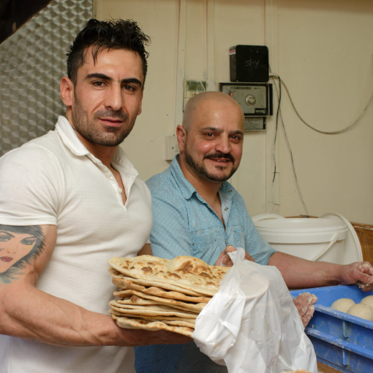 Graham Land:  Salal Hama-Raspidy (back) and colleague at Shadi Bakery , April, 2018