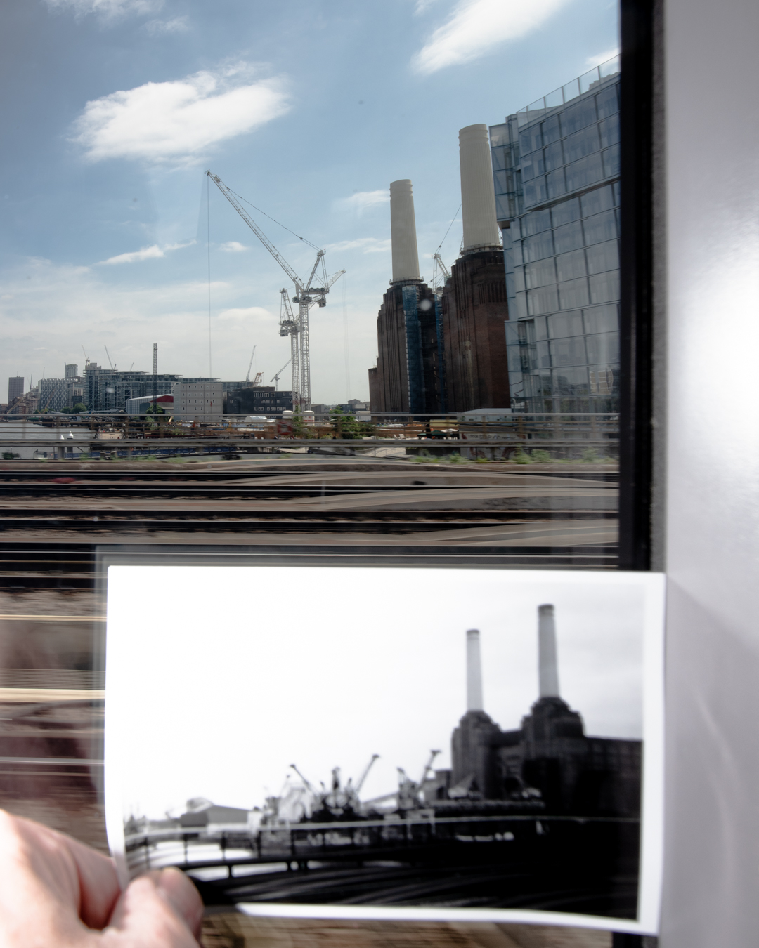 Image of the Battersea Power Station and 1973 photograph taken by Graham Land, June2018
