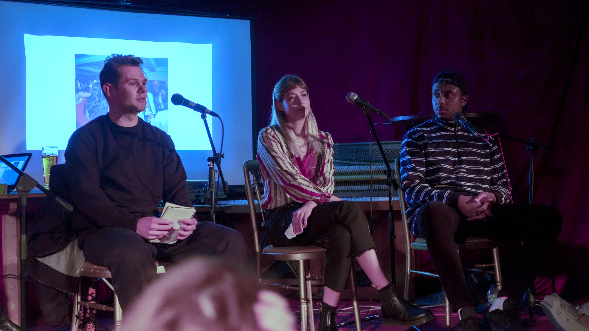 Sam Wright, Alice Mann and Jojo Sonubi on the stage at SET, Dalston. 7th February, 2019
