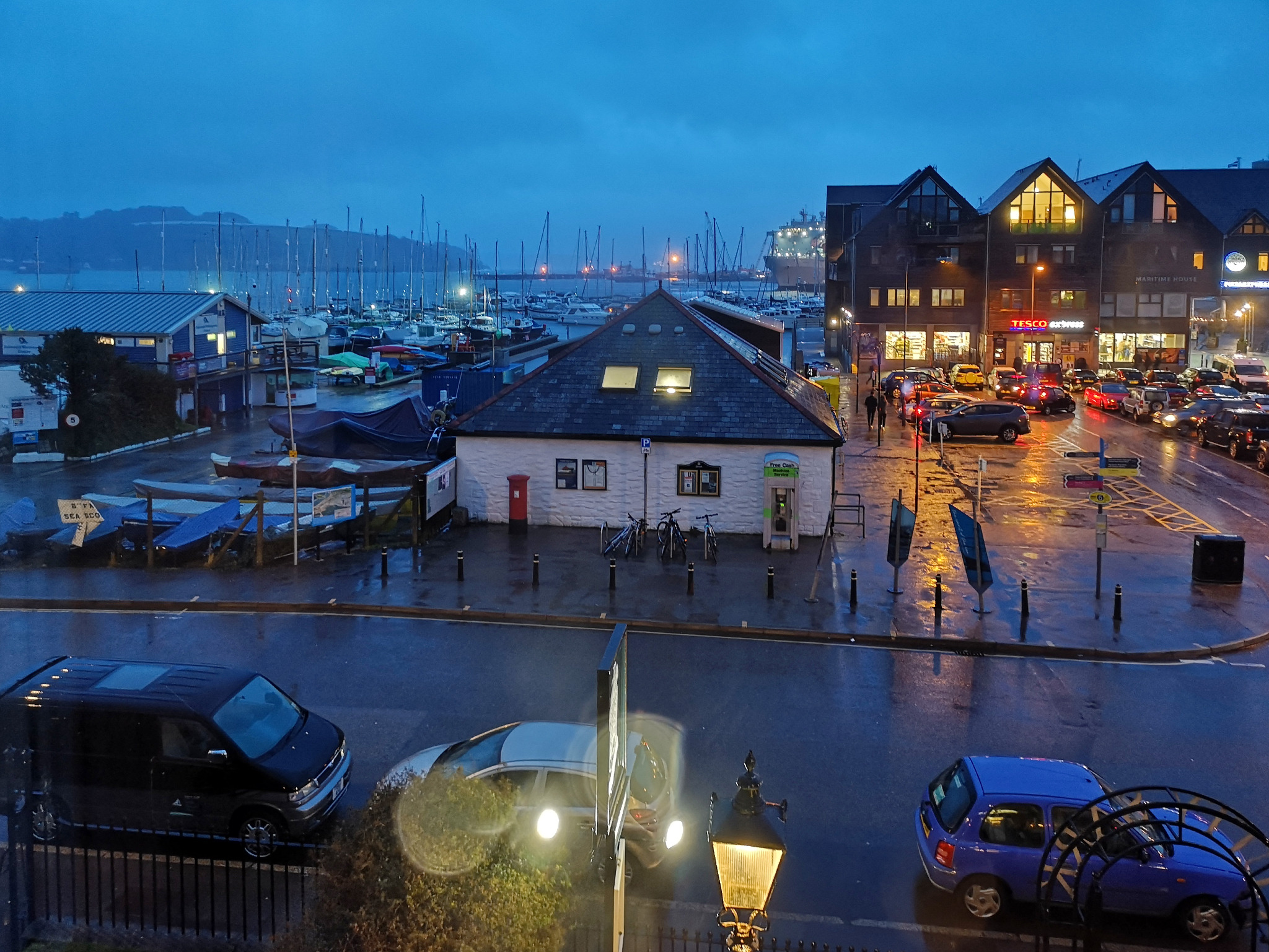 A rain-swept Falmouth taken from a B&B window, taken by Graham Land on his mobile phone on arrival  5th March, 2019