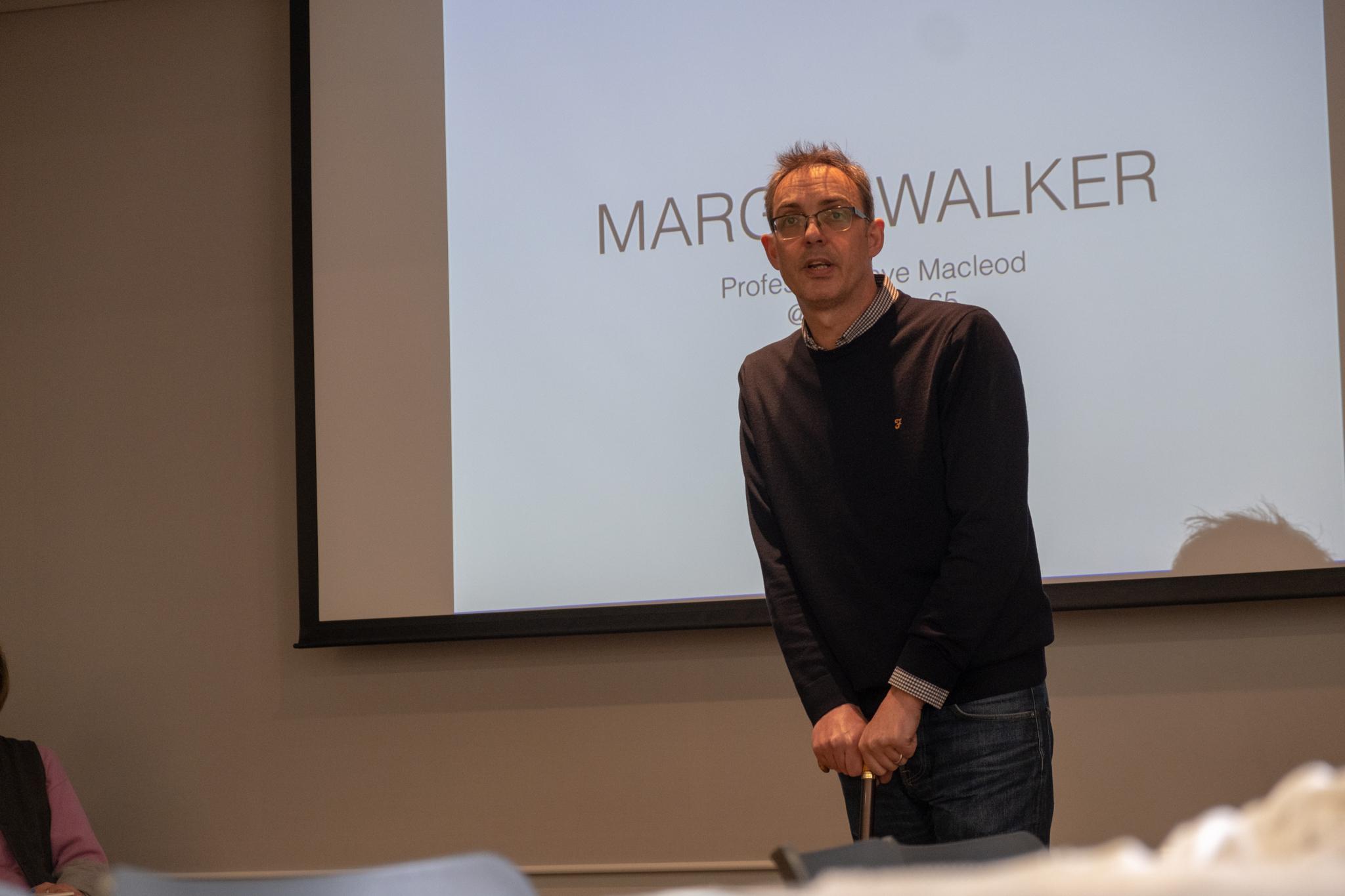 Professor Steve Macleod giving his 'Margin Walker' presentation. Taken by Graham Land, March, 2019