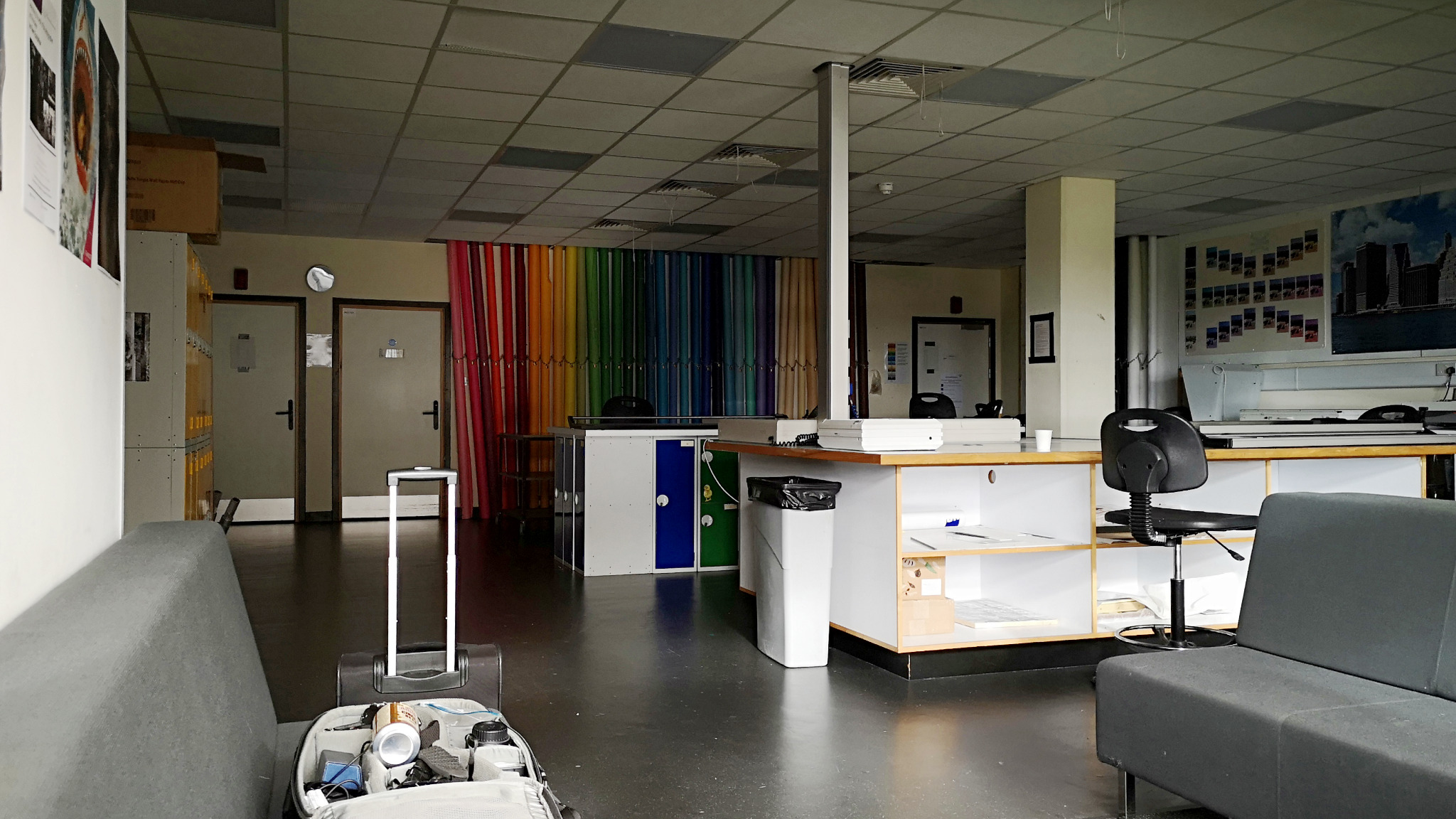 Entrance to the Institute of Photography's development and printing laboratories, Falmouth University. (before the lights and equipment are switched on). Taken by Graham Land, March, 2019