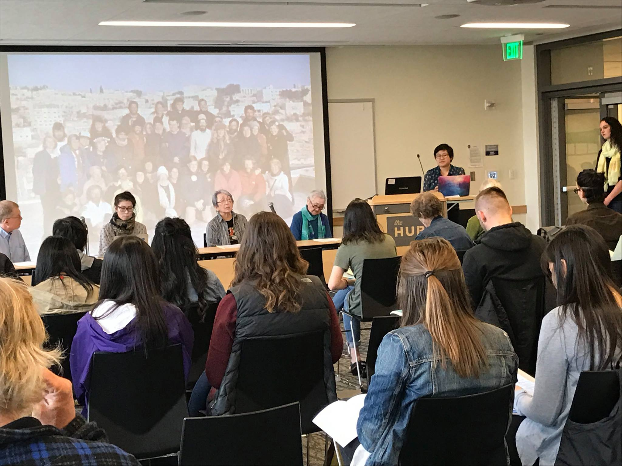 """University of Washington student Jenny Chang speaks at """"Nuclear Insights,"""" an event at UW featuring those directly affected by the bombings in Hiroshima and Nagasaki."""
