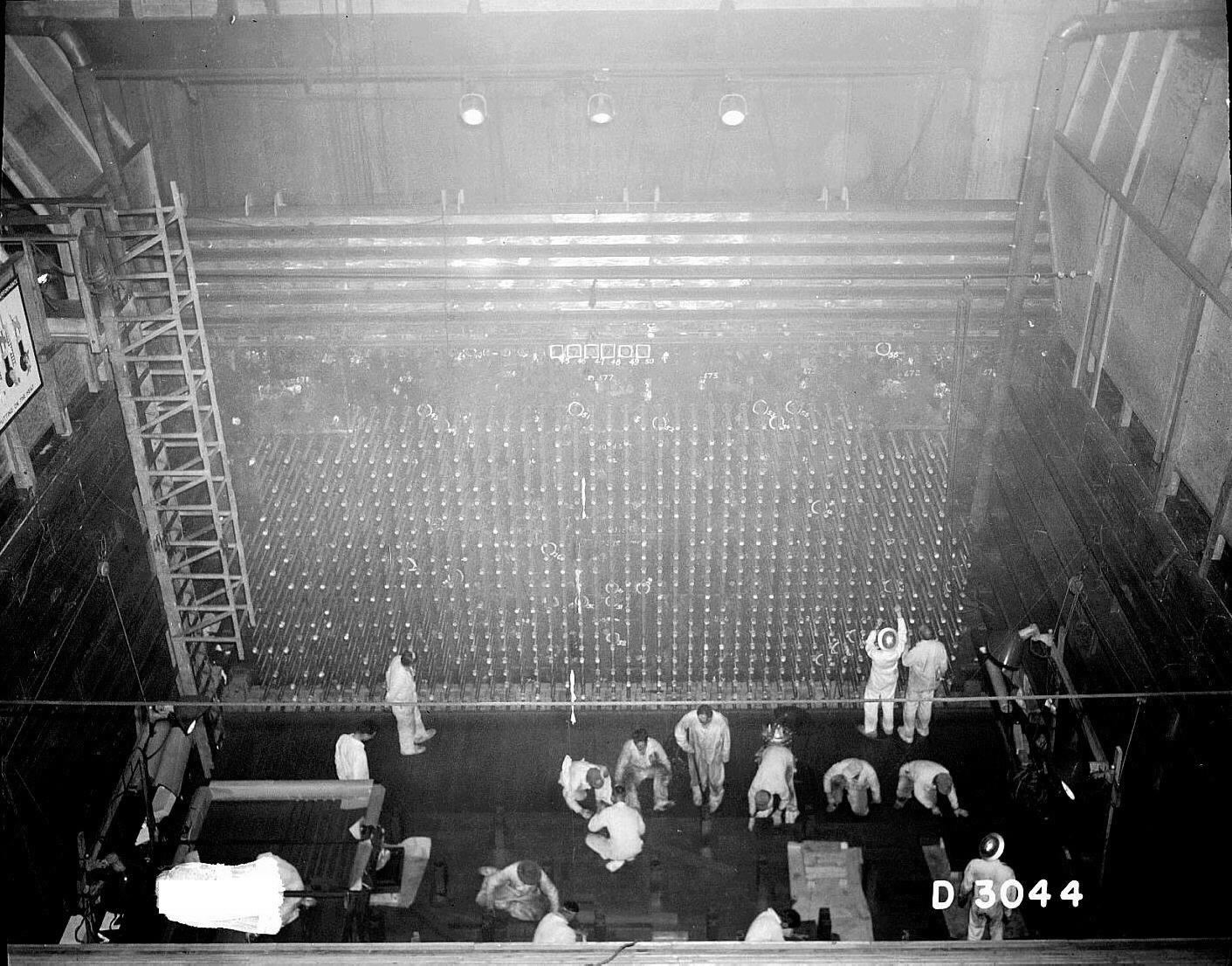 Front face of the B reactor at the Hanford site.