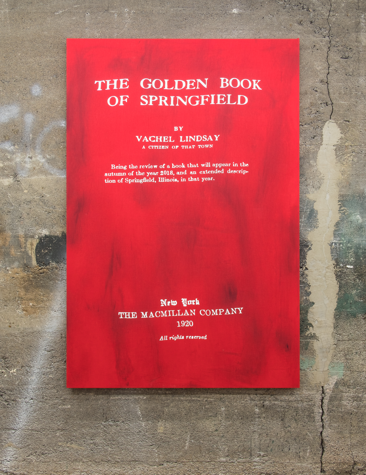 Guillaume Adjutor Provost, The Golden Book of Springfield, 2018. Ink, dye and thermo vinyl on linen  152 cm x 101 cm [Photo by Morgane Clément-Gagnon]