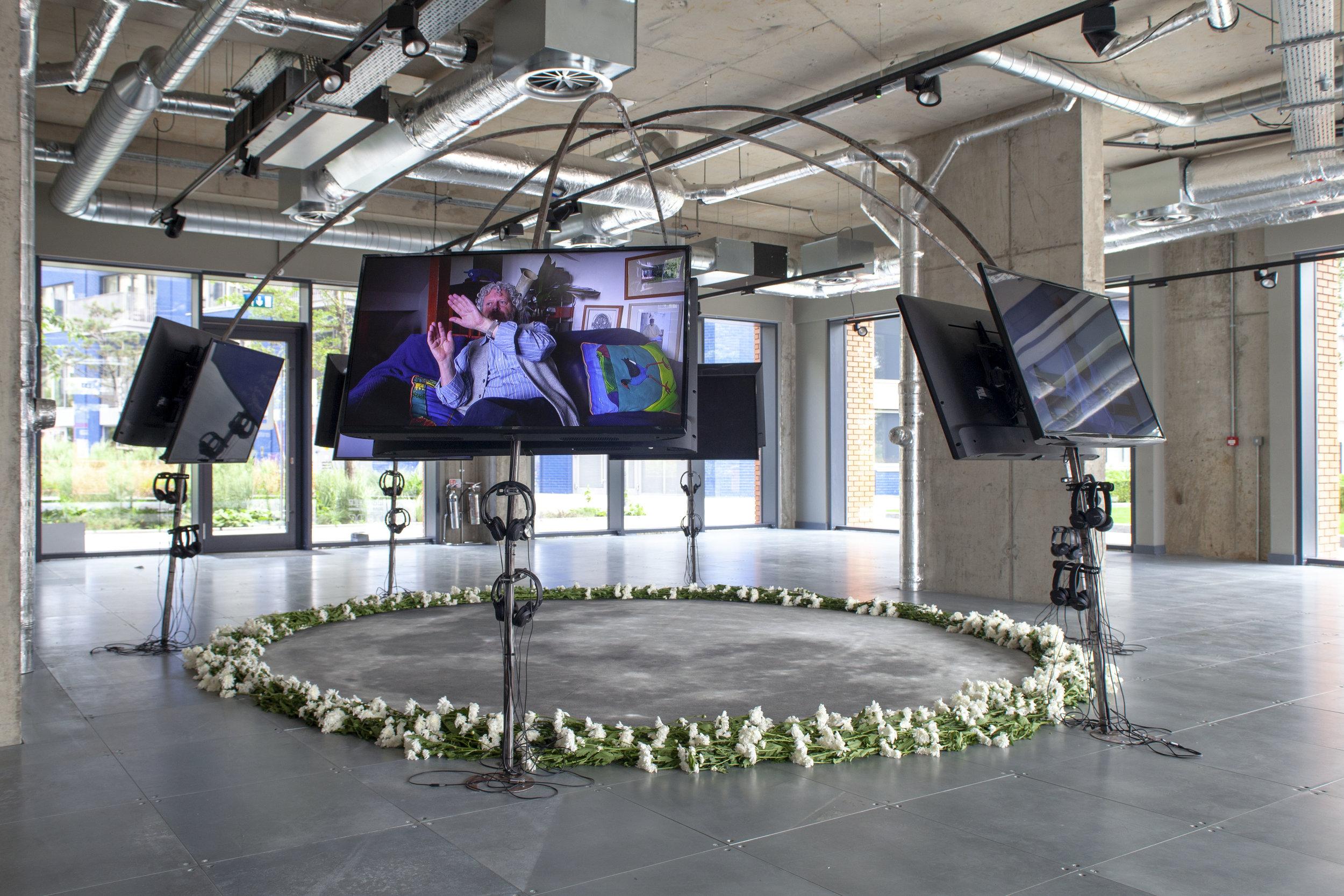 Installation view of  Satellite Devotion,  Tabita Rezaire, 2019. Image by Christopher MacInnes