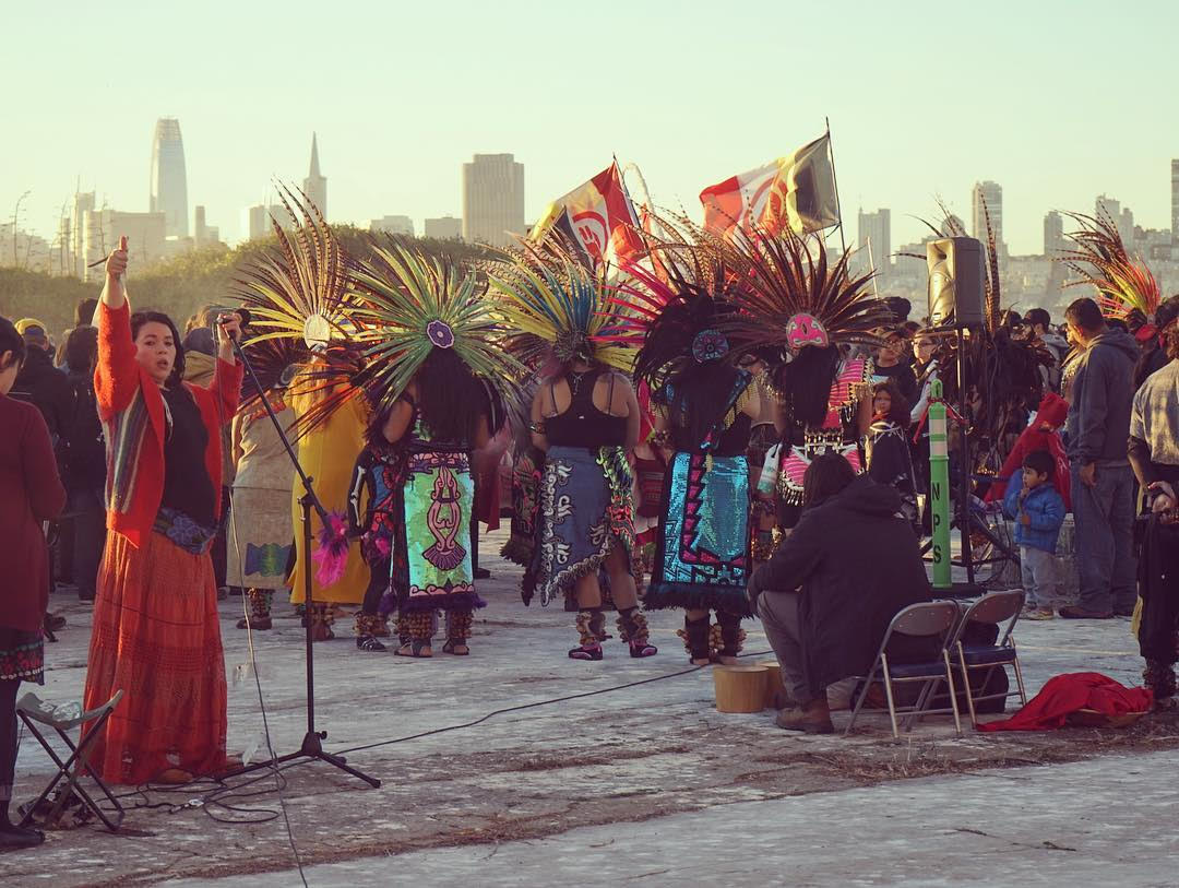 Sunrise Ceremony on San Franciso's 1st officially recognized Indigenous Peoples day on Alcatraz Island