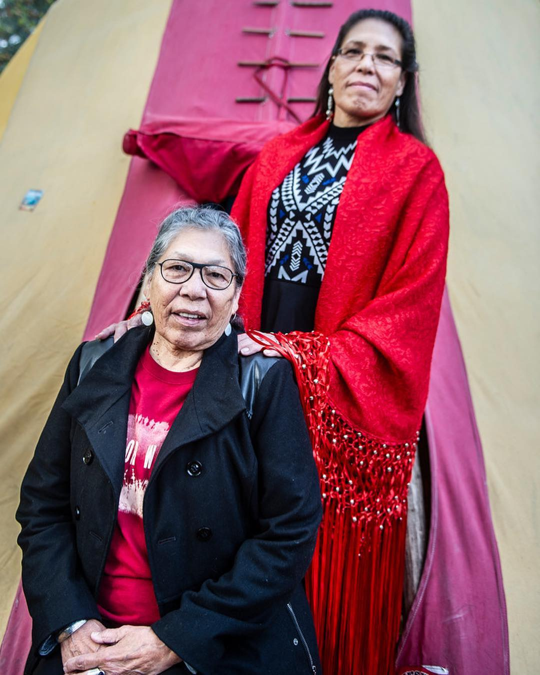 Madonna Thunder Hawk and Marcella Gilbert in Amsterdam with the Netherlands Association for North American Indians (Nanai)
