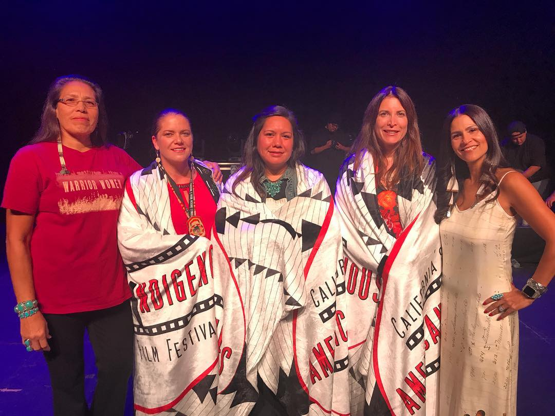 "Warrior Women won ""Best Documentary"" at California's American Indian& Indigenous Film Festival. Marcella Gilbert with director, Dr. Beth Castle standing alongside the other phenomenal winning filmmakers; Zoe Leigh Hopkins with Kayak to Klemtu & the producer Paula Devonshire with Indian Horse & festival director; Joely Proudfit"