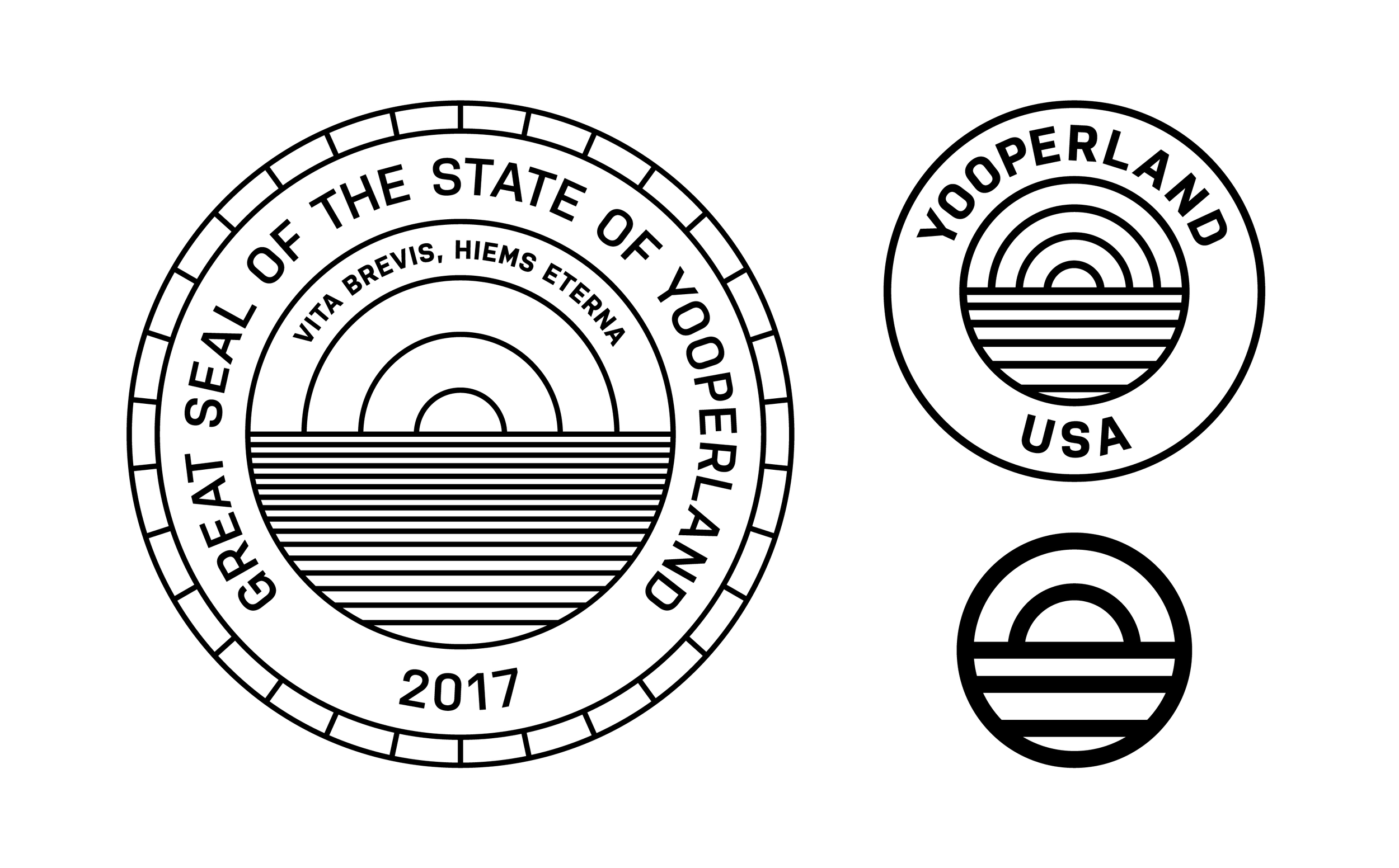 Final design for the Great Seal of The State of Yooperland. I then created two smaller icons to be used in conjunction with the seal for marketing and branding purposes.