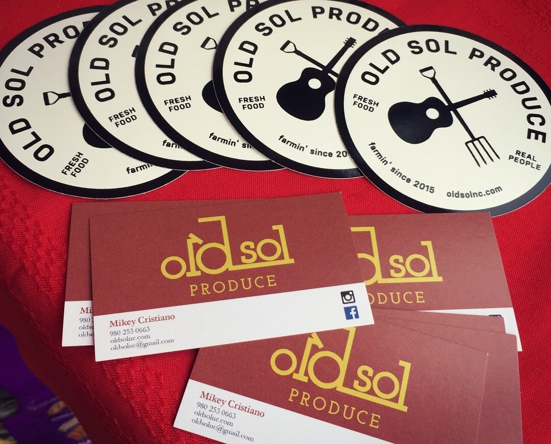 Old Sol calling cards and circle stickers.