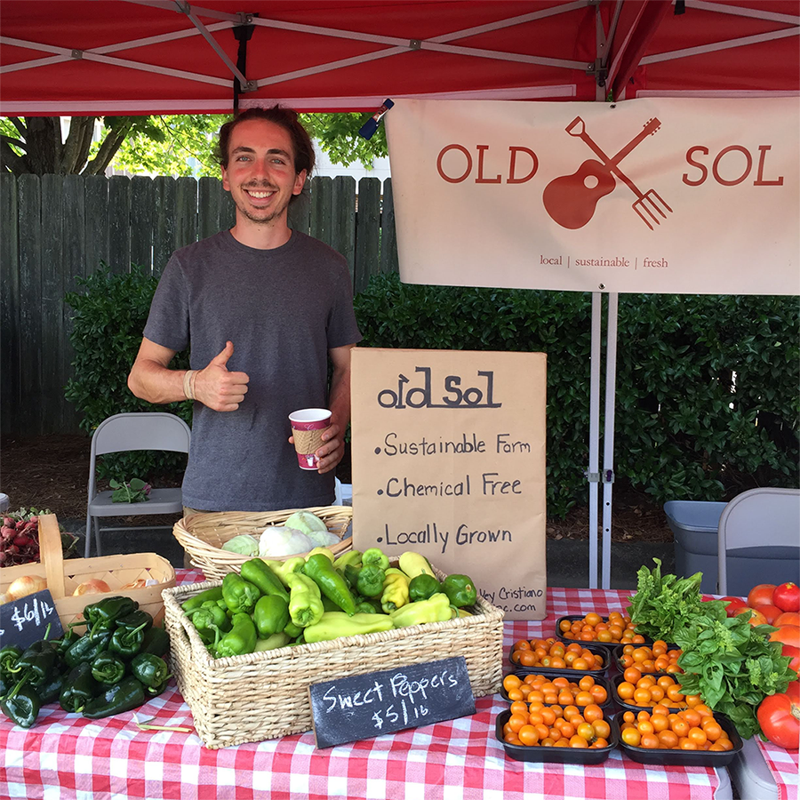 The Old Sol logos out in the wild at the farmers market! (2017)