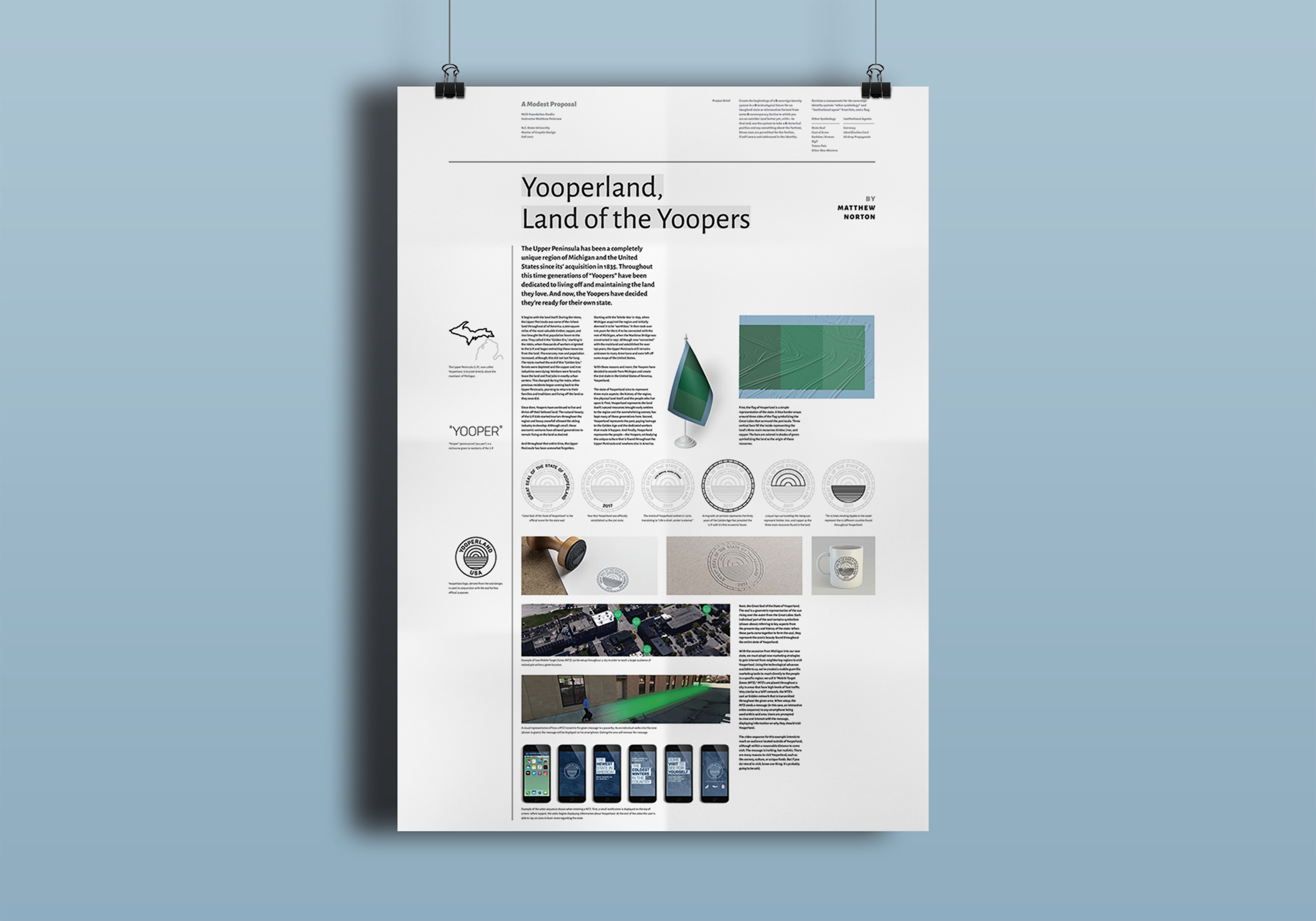 Final poster design displaying each designed assets and explaining the story behind Yooperland.