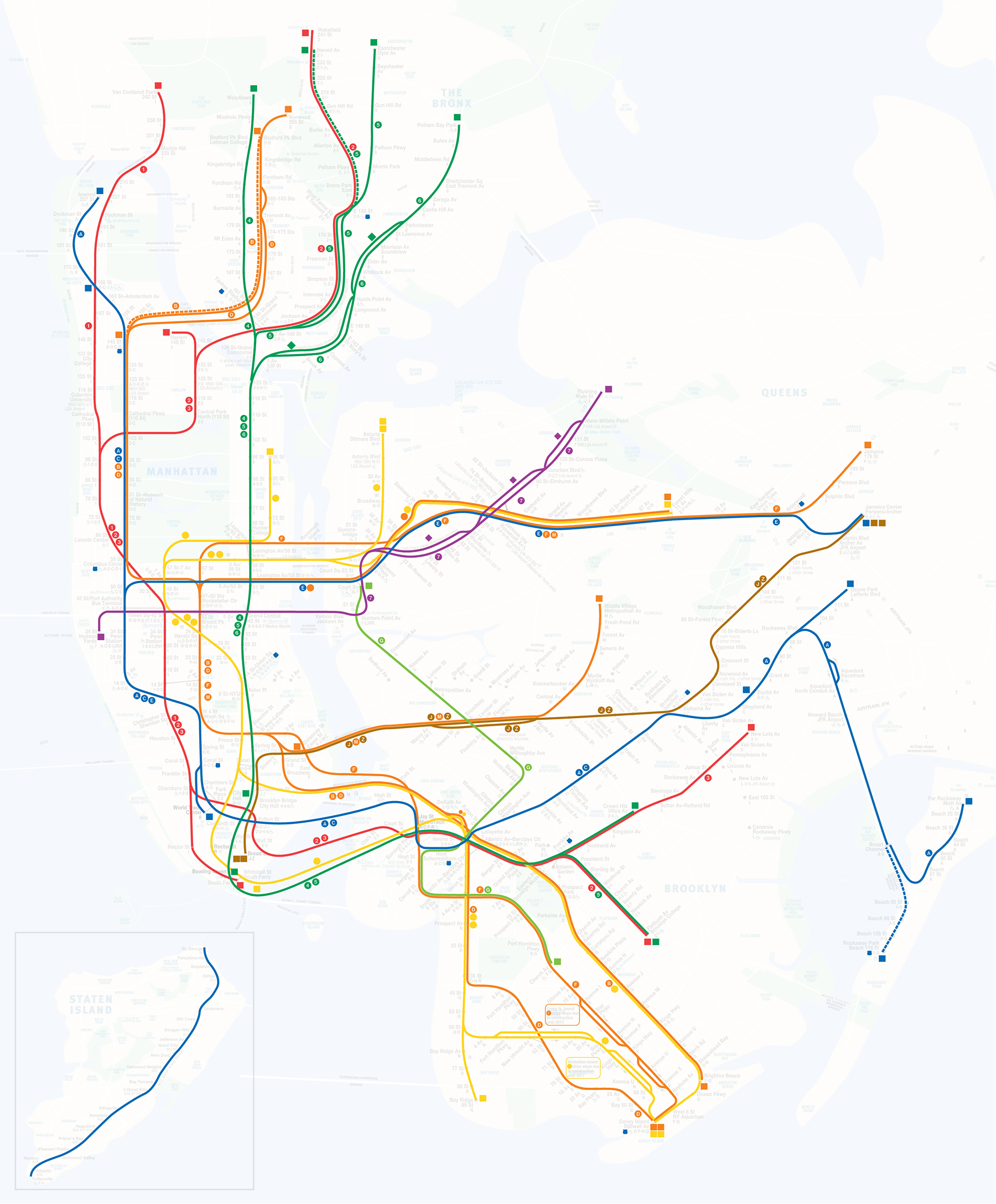 Rail-lines  show the paths of specific rail-lines and how they interact.