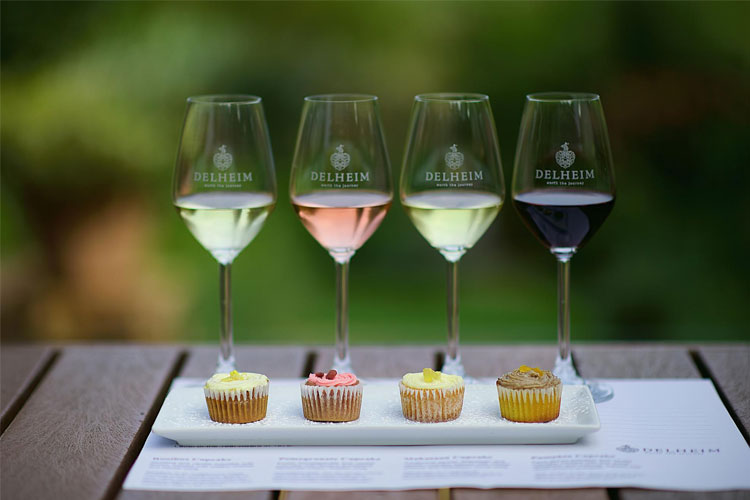 cupcakes and class - What's a good time without a cupcake? Enjoy an exotic pomegranate cupcake (with pinotage rosé), Rooibos cupcake (with chenin blanc wild ferment), a pumpkin-and-vanilla cupcake (with pinotage) and a traditional African Makataan cupcake (with Gewürztraminer).The Delheim Estate is one of SA's most historically influential operations after introducing Pinotage to the world. Set at the base of the Stellenbosch mountain range. This an incredible experience.