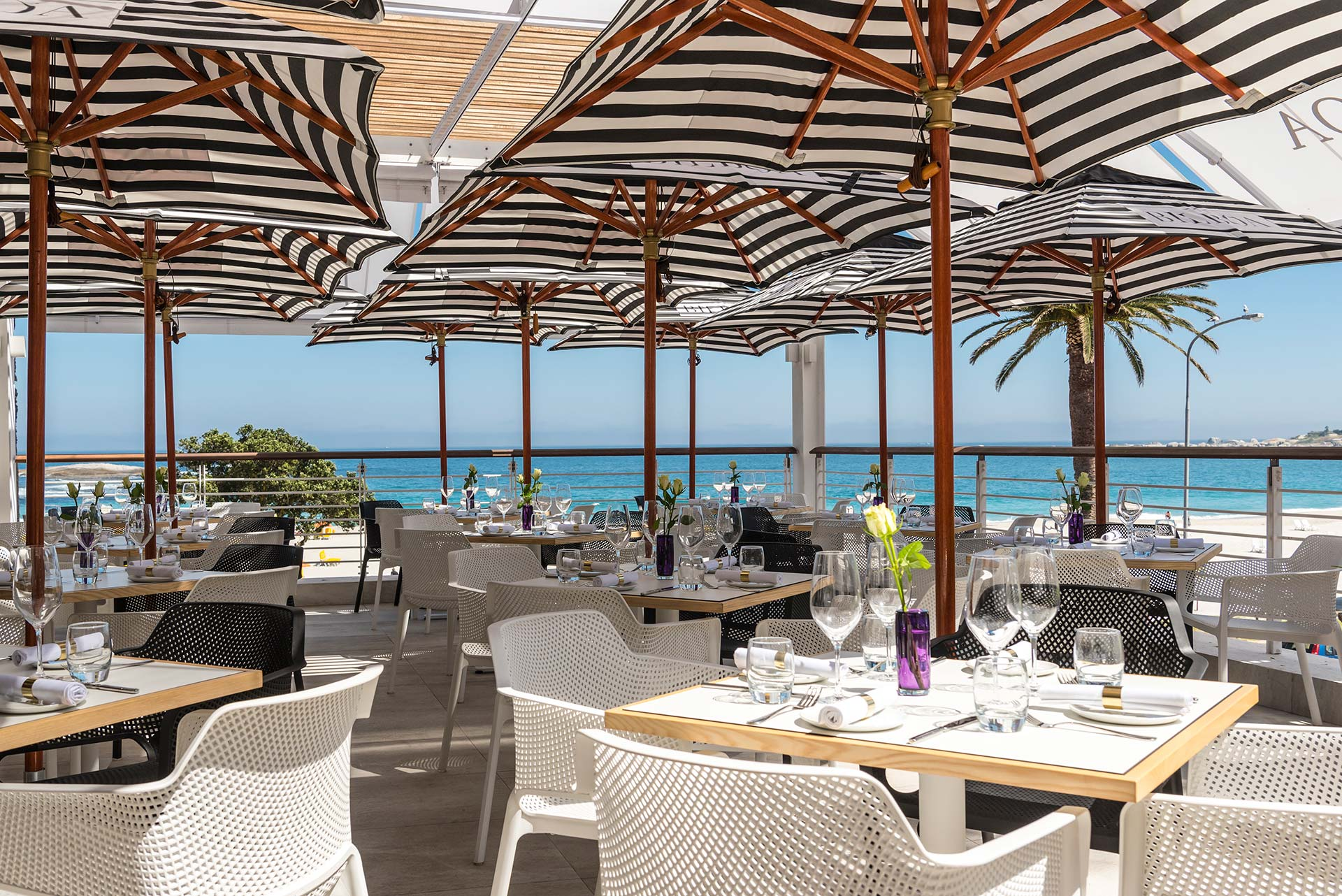 Dinner with a view: Bilboa Camps Bay - For delectable seafood, uninterrupted ocean views, and very friendly service. This is a seafood lovers dream and no trip to Cape Town would be complete without indulging in the local catch. View Website.
