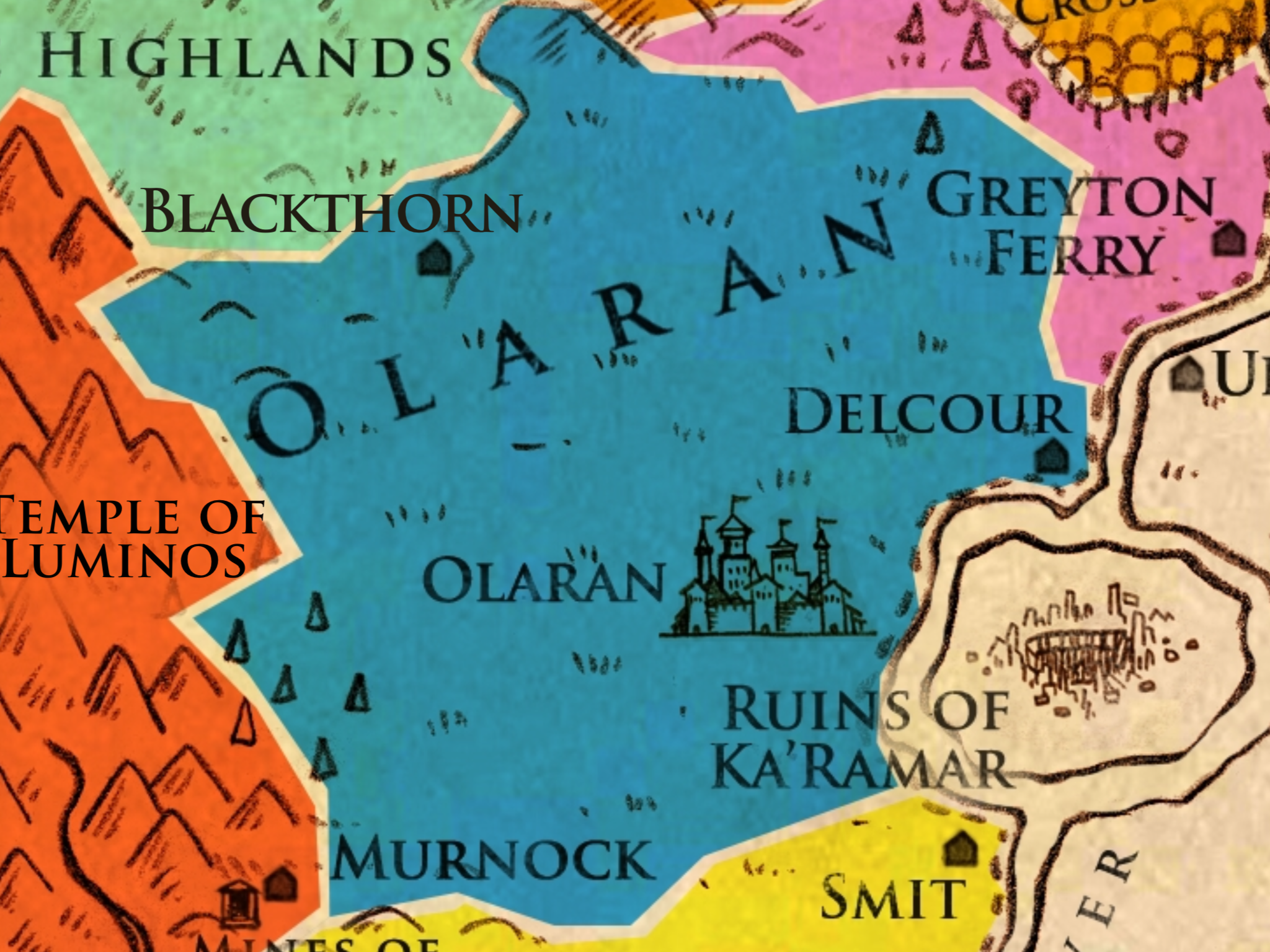 Olaran (Capital) - Known For:The founding province of Olaran, it contains the Kingdom's capital city - Olaran.Key Households:Royal house of O'Reyne - The ruling house of Olaran, currently headed by King RangarTopography:Generally a region of plains and grasslands, with a small region of forests on its western border near the Fire Mountains. Its eastern border is the Keldaran River.Economy:The majority of the province consists of farmlands that produce grain. The capital city is a trade hub due to its access to the Keldaran River, on which resources and goods are shipped between the northern lands of the Kingdom, neighboring Arkadia to the east, and Goltha to the south. A majority of the wealth in the region is due to taxes collected from the other 8 Provinces. It is the political center to the Kingdom of Olaran.Major Cities:Olaran - The Capital City of the Kingdom of Olaran, this vast city is surrounded by walls on all sides, and has some of the highest towers in the kingdom. It is a trade hub for the kingdom's goods that are shipped along the Keldaran River.Other Cities:Delcour - A city on the Keldaran River that is a popular stop for those travelling between the Capitol and Greyton Ferry. Sometimes known as the Northern Gateway and is of strategic importance in protecting the capital. It is the sister city of Smit in the south.Blackthorn - The westernmost city of Olaran, this city sits at the end of a small river that starts in the eastern leg of the Grimmock Mountains. It is a hub for farmers and traders from The Highlands to the west and the farmlands of Olaran to its east.Locations of Note:The Royal Palace - Seat of power in Olaran, houses the royal family and the Throne's Council.The Academy of the Kingsmen - Many of the high houses of the kingdom send their best and bravest young to serve in the capital. They begin their training at the Royal Academy of Kingsmen, where they are educated by scholars from all over Adrasil and steeped in the ceremony and protoco