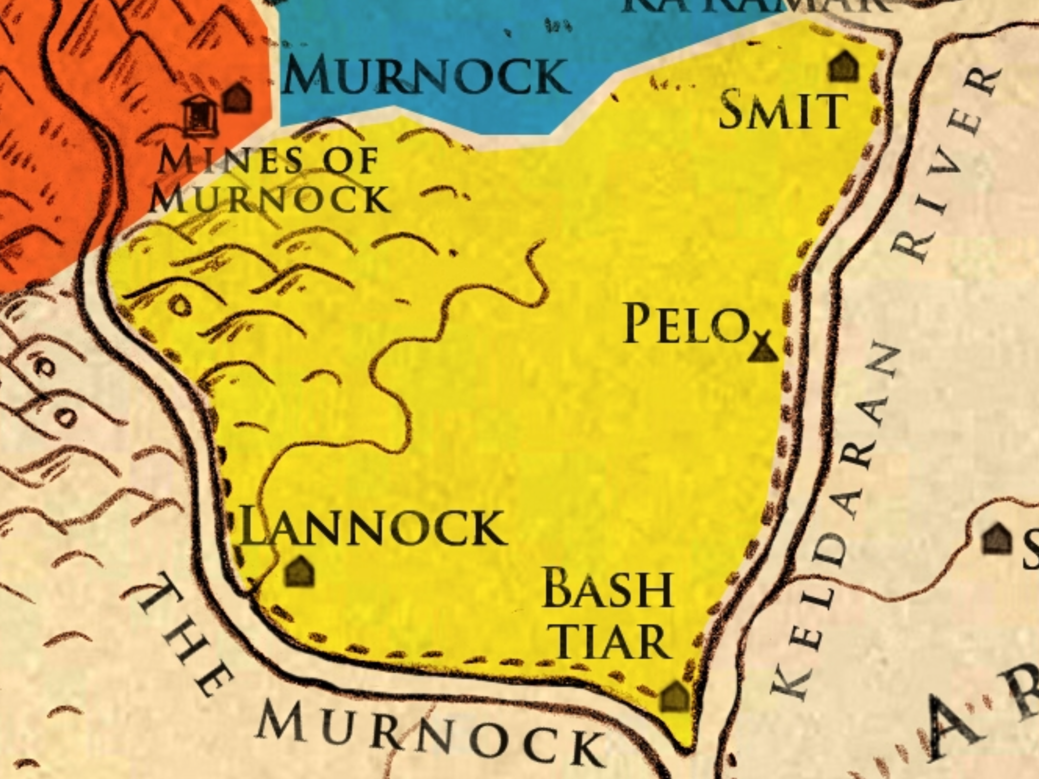 LANNOCK - Known For: As the southernmost region of Olaran, Lannock has seen much bloodshed since the unification of the Kingdom. Conflicts with Goltha and Arkadia have instilled in the people of this region a warrior spirit and a strong sense of national pride. They are the first line of defense against invasion and evidence of their combative nature can be seen in their culture and lifestyle.Key Households:House of the Duke of LannockTopography: A mix between the foothills of the Fire Mountains and fertile grasslands along the river Murnock and Keldaran RiverEconomy: Metalwork (due to their proximity to the Mines of Murnock), Farming, LivestockMajor Cities:Lannock - The capital of the region of Lannock and the seat of the Duke of Lannock. A well fortified city with a strong position on the Murnock River, it works as a defensive location for locals as well as a trade town for the rest of the region.Other Cities:Pelo - One of the trading towns along the Keldaran River.Bash Tiar - A strongly fortified city and a bastion of defense for all trade routes leading by river into Olaran. Known for its great fortress.Smit - Known as the Southern Gateway, Smit is the largest trading stop on the southern Keldaran River and is the sister city of Delcour in the north.Locations of Note:The Fortress of Bash Tiar - One of the strongest defensive structures in all of Olaran, this fortress is the primary location for the housing and training of the army and the command center for the Hearth Guard.