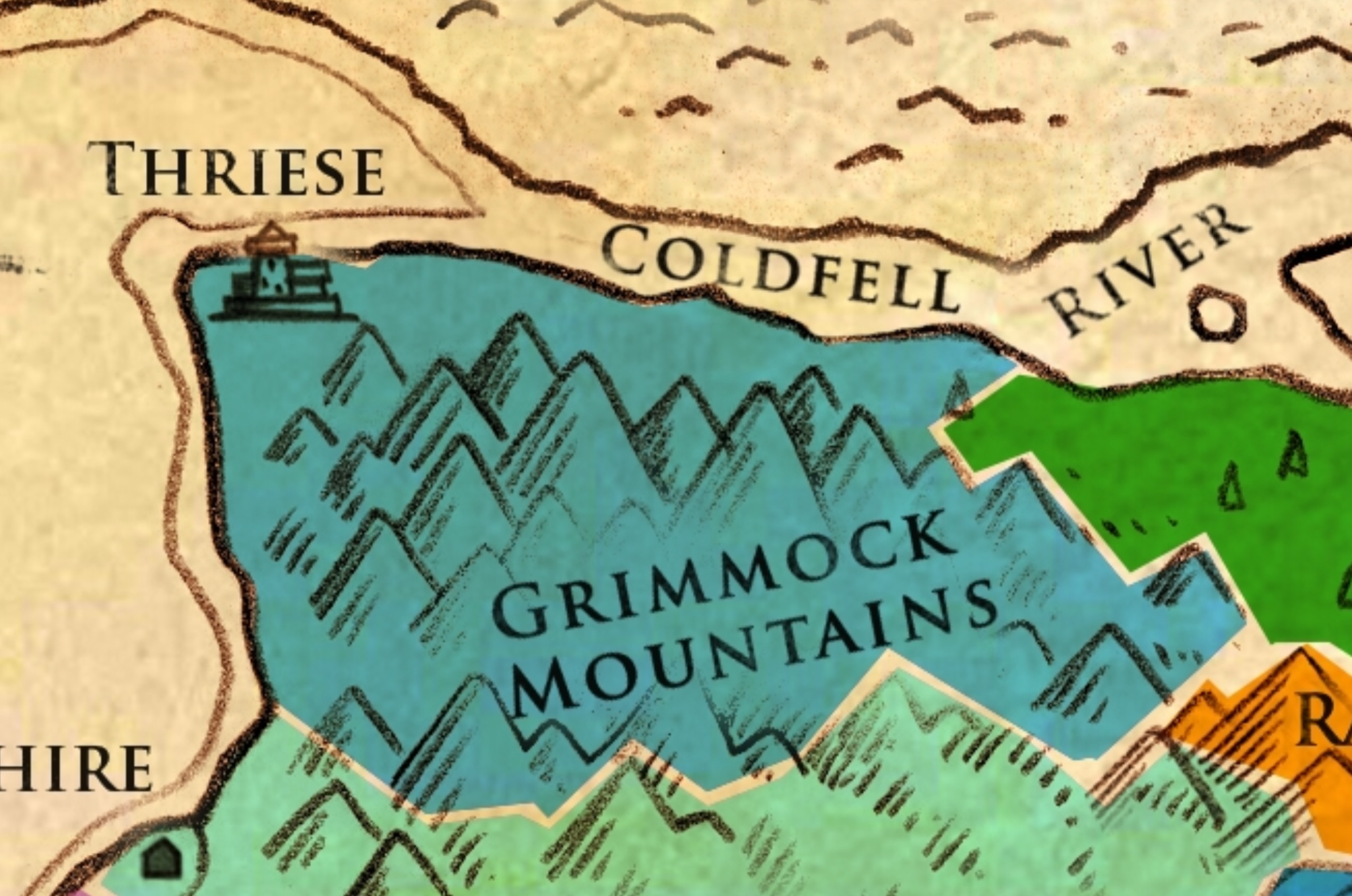 GRIMMOCK - Known For: While the majority of the land in Grimmock is mountainous and nigh impassible to travelers, it's coastline is perfect for the building of ships and seafaring peoples that call it home. One of the more independent regions due to their ability to travel beyond the seas around Olaran and beyond, they have a strong voice in the politics and trade of the entire kingdom.Key Households:House of the Earl of ThroiTopography: Harsh mountains and cliffs along the coast broken up by naturally protected bays and harboursEconomy: Fishing, Ship Building, Transporting of Trade goods for other regions.Major Cities:Thriese - The capital of the region and the seat of power for the Earl of Throi. It is the largest port in Olaran and is both rich and well defended.Other Cities:N/ALocations of Note:The Sea Lord Naval Yard - The birthplace of some of the greatest seafaring vessels in Olaran if not Adrasil.The Grimmock Mountains - Though not as formidable as the Fire Mountains to the south, these peaks are not to be trifled with.