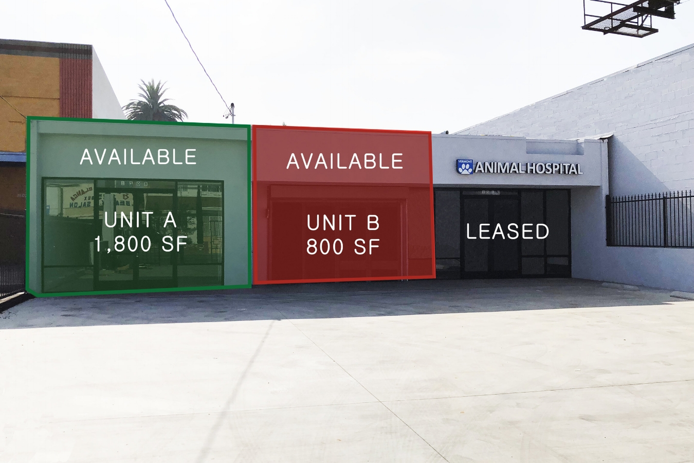 1508-1512 South VERMONT AVEnue, LOS ANGELES, CA 90006 - LEASE RATE: $ 2.50/ SF/ +NNNGLA: +/- 4,767 SF- 2 SPACES (UNIT A / UNIT B) AVAILABLE- Both units include new restrooms and AC systems!