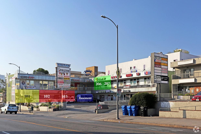 2500 west 8th street, los angeles, ca 90057 - - Unit 101: 902 SF, $2.50/SF- Unit 102-103: 2,500 SF, $3.00/SF (Kitchen Equipped)- Unit 206-207: 1,530 SF, $1.50/SF- Basement: 4,423 SF, PRICE TBD