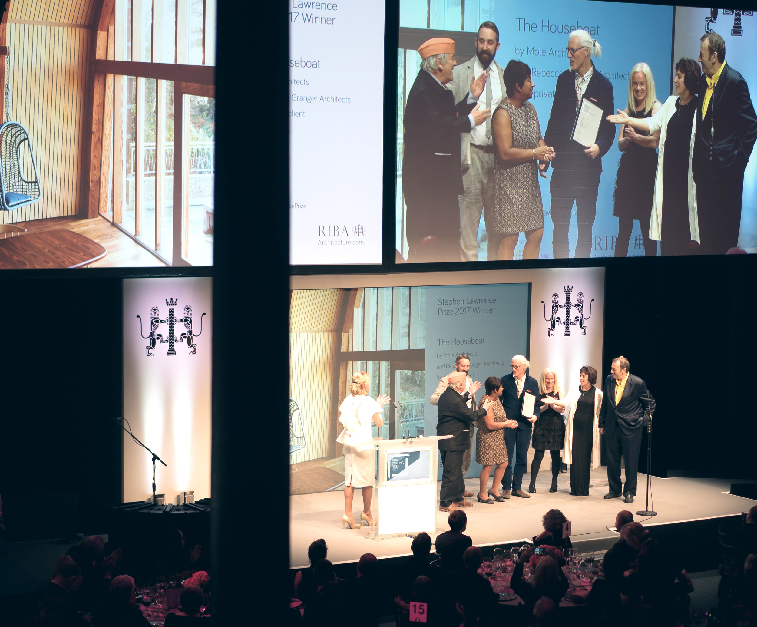 Receiving the award on the night at the Stirling Prize Awards Ceremony at The Roundhouse, October 2017