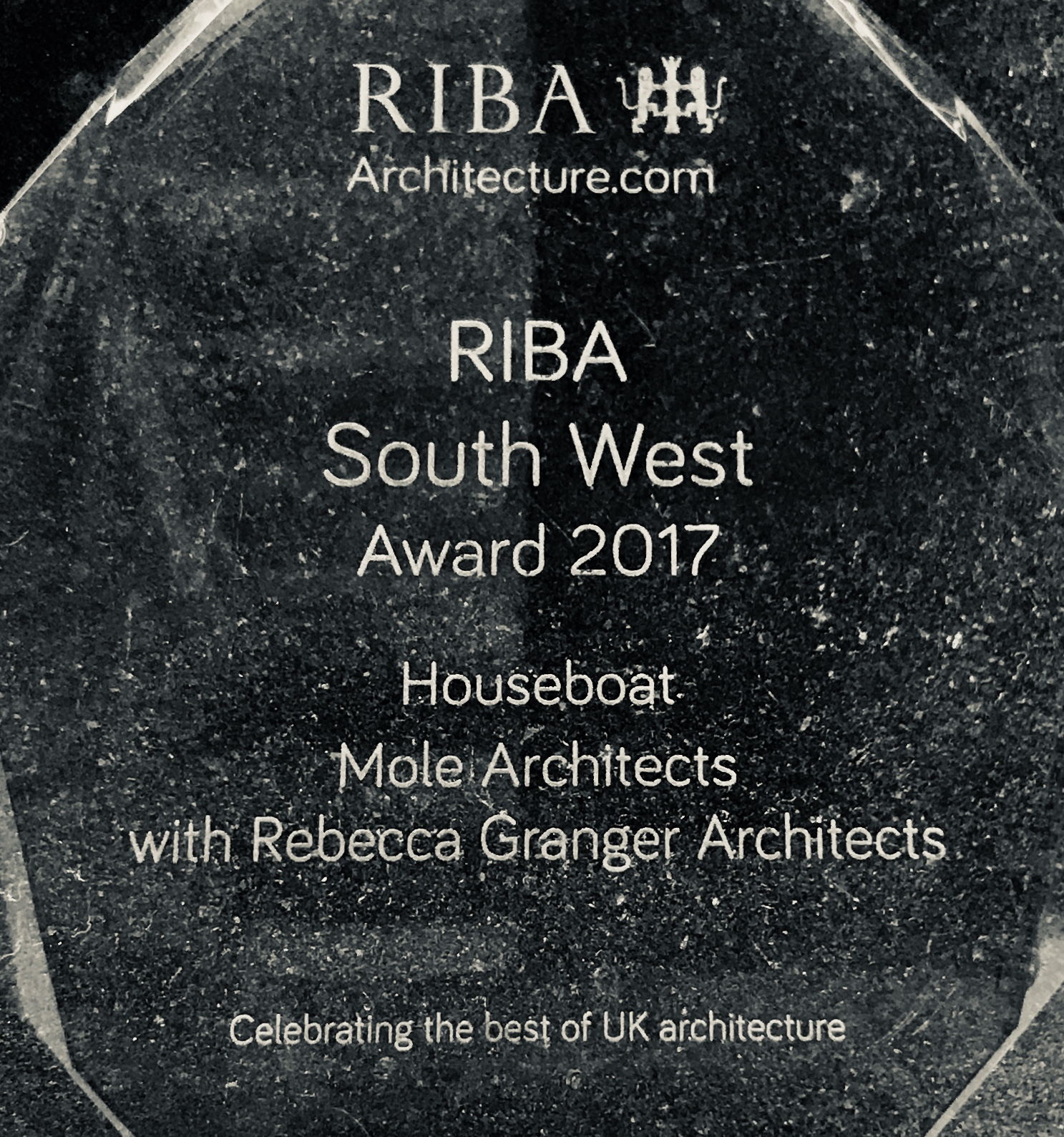- The Houseboat wins a South West Regional Award at the event held in Bristol by the RIBA in May 2017