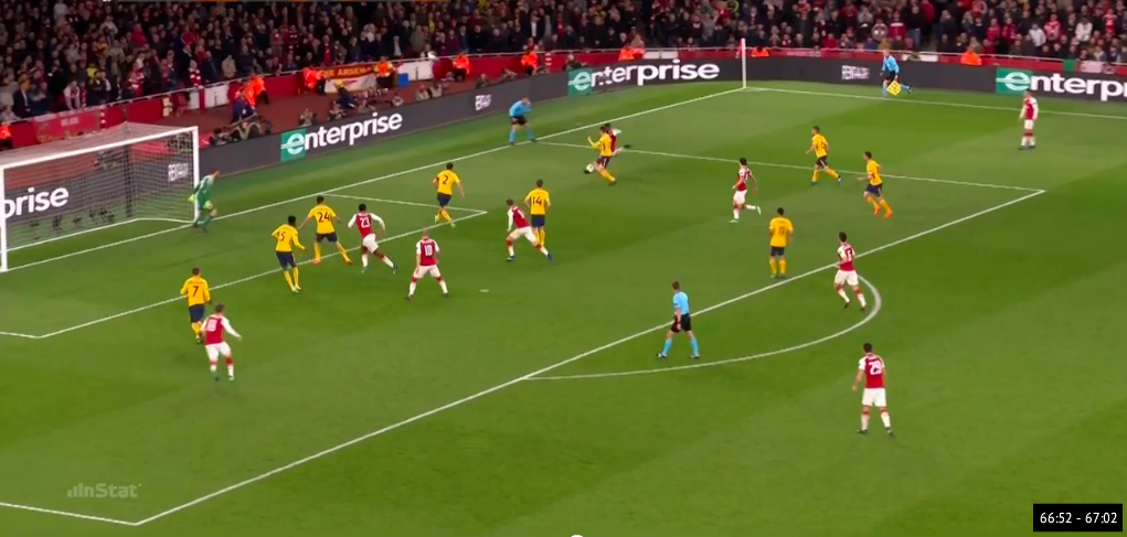 Lacazette gets behind the backline of the defense and forces them to face their own goal.  Notice the body shape of #2 Godin and #24 Gimenez.  This cross was driven between the goal keeper and the backline but Welbeck was unable to get a touch on the ball.