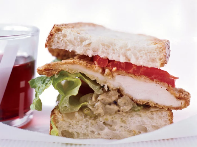 Not: Fried Chicken Sandwich   590 calories per 1/2 lb, 29 grams of fat,20 grams of carbohydrates