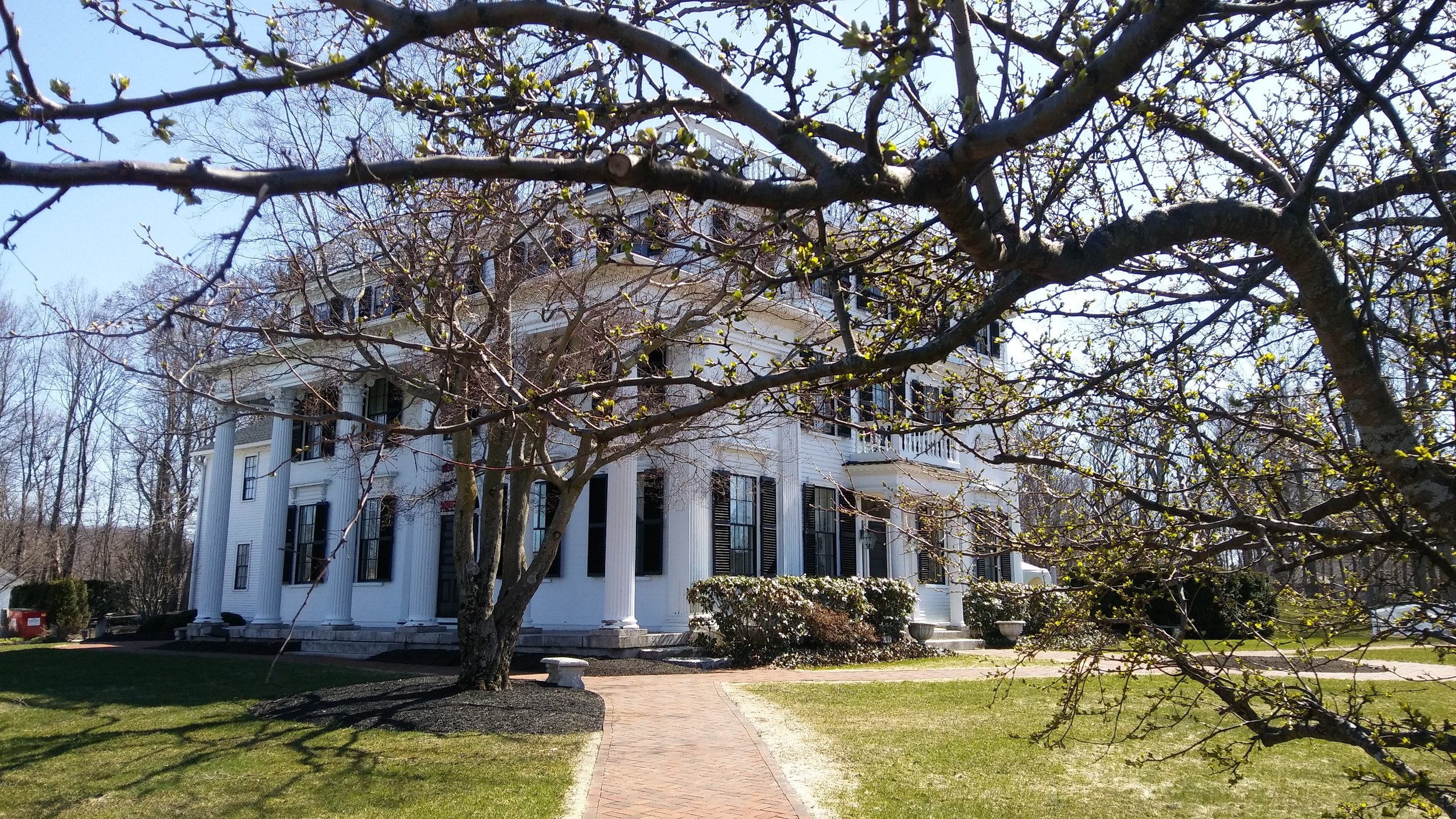 The northeast view of the Asa Waters Mansion, early spring. Photo: Mary Bowen, Asa Waters Mansion.