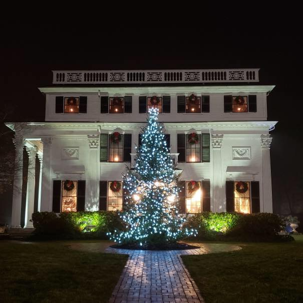 Christmas tree on the Elm Street side lawn, winter 2018. Photo: John McElroy, Asa Waters Mansion.