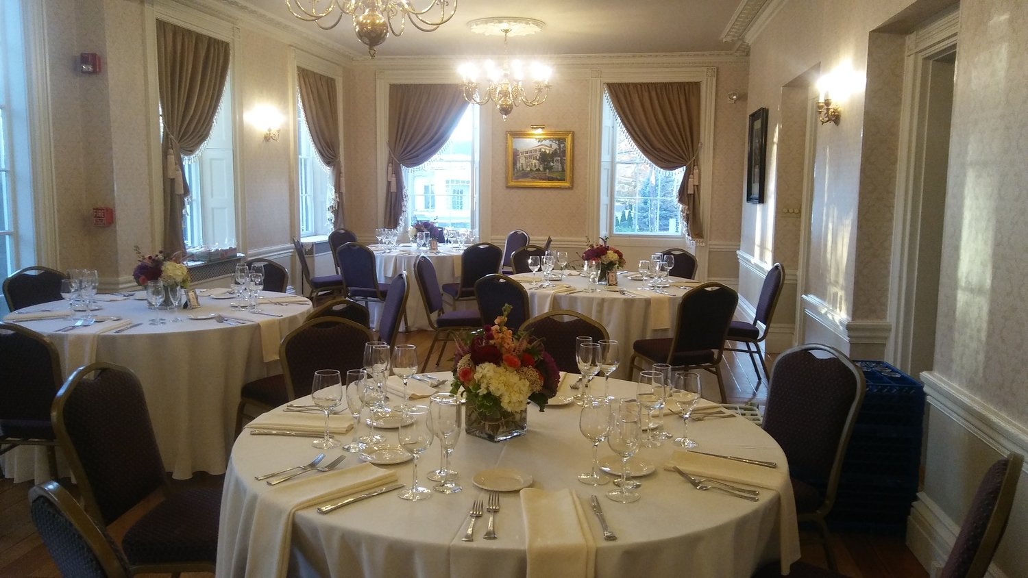 The Great Room dressed for a formal event. Photo: Mary Bowen, Asa Waters Mansion.