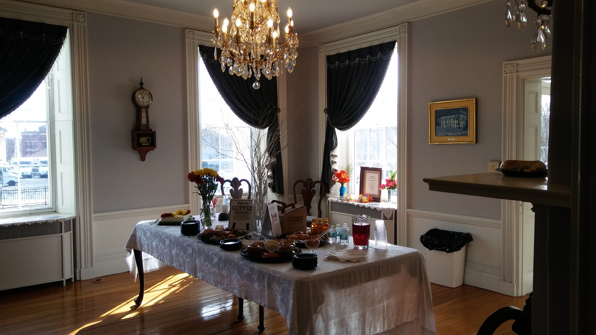 The original Waters Family Dining Room dressed for an informal continental breakfast. Photo: Mary Bowen, Asa Waters Mansion.
