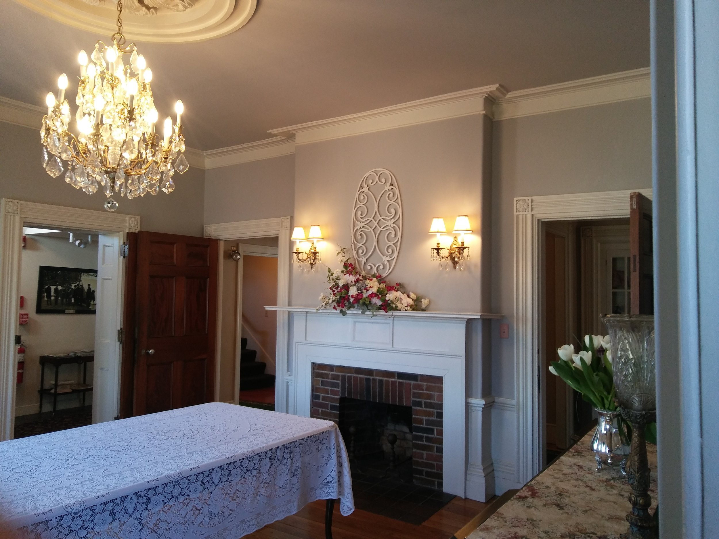 The Waters Family formal dining room: a popular setting for small gatherings or buffet set up for a larger event. Photo: Mary Bowen, Asa Waters Mansion.
