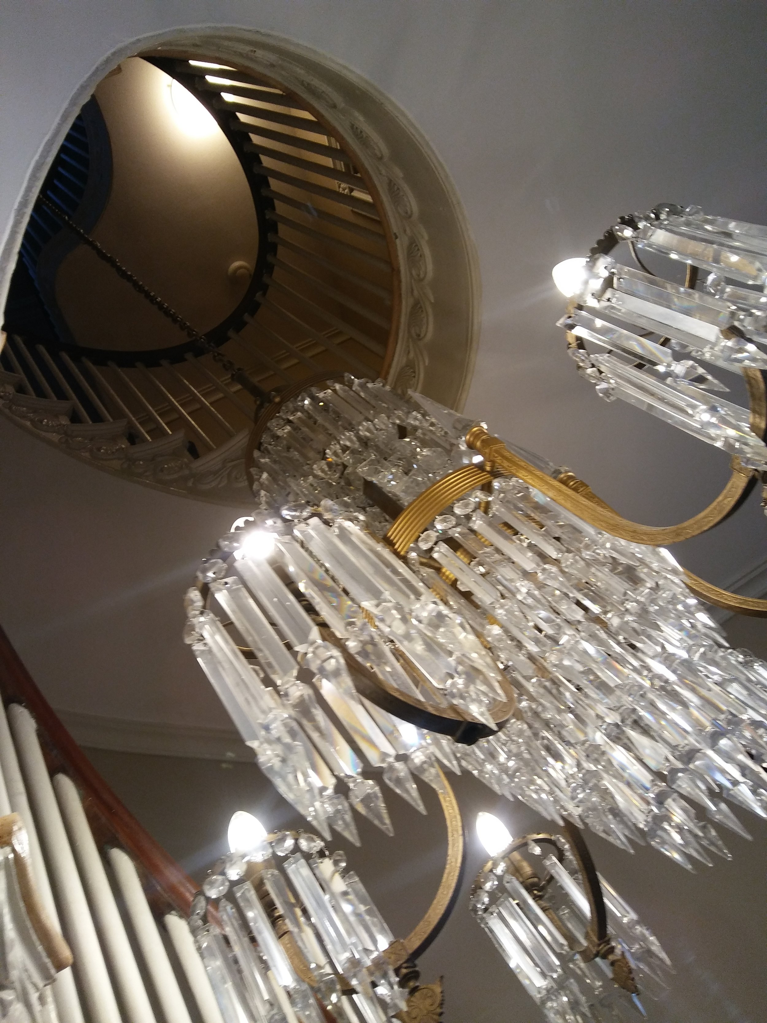 Close up of the Grand Staircase chandelier. Photo: Mary Bowen, Asa Waters Mansion.