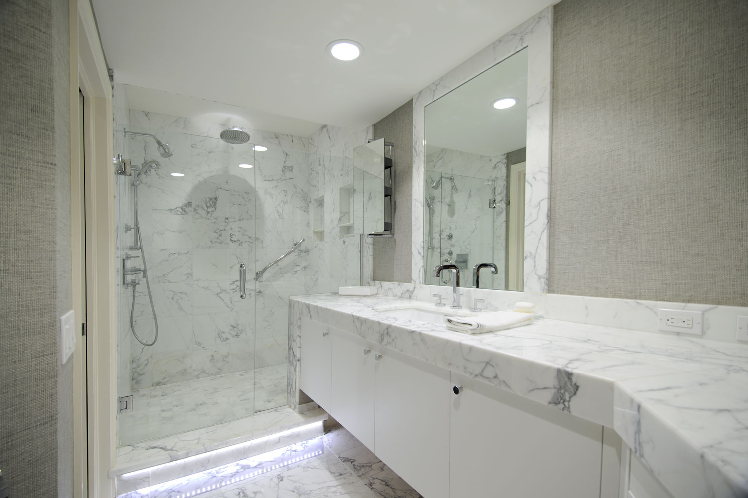 Transitional Home His Master Bath