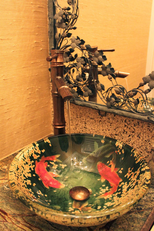 British West Indies Home Powder Room Sink